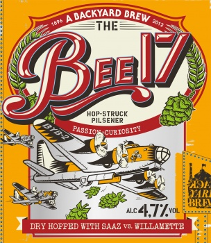 Illustration for a beer label with a B 17 bomber