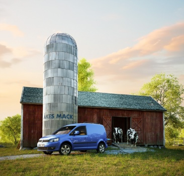 VW volkswagen Caddy Ecofuel car in front of a barn with 2 cows coming out. Lada ladugård kor boskap