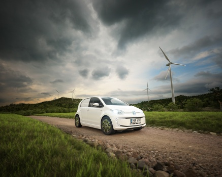 Volkswagen Eloadup pickup special edition wind power electric car at the countryside road drive with battery power. Elbil vindkraft landsväg hybrid