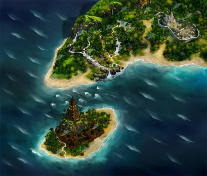 Google map of island for fantasy interactive