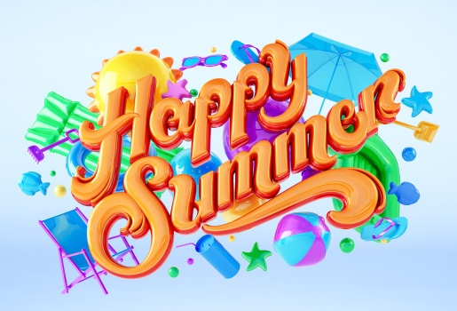 Happy Sommer logo with bath ball and toys like air mattres and shovel and bucket