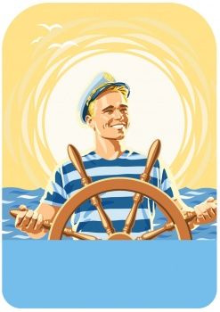 Kippari sailor at the steering wheel cheesepackage cover