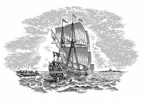 sailing ship, woodcut, engraving