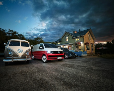 Volkswagen caddy and transporter t6 at the coffee cafe pastry shop rastplats fika raggare