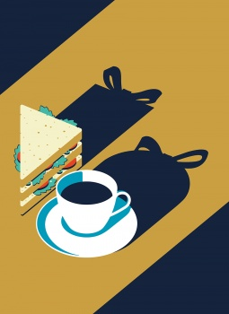 coffee cup and sandwich